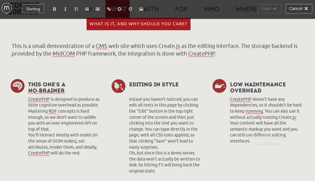 CreatePHP - CreatePHP is a technology to allow inline content editing for PHP-based Web pages
