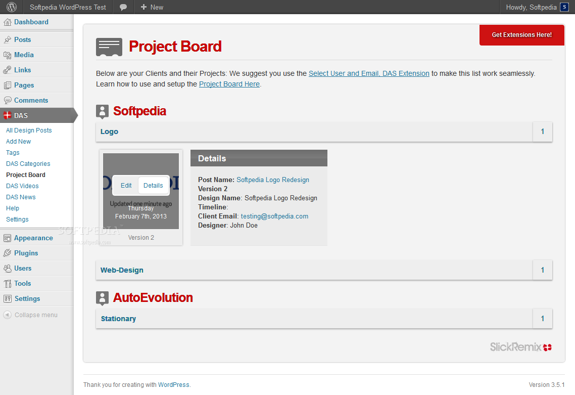 Design Approval System - The Project Board is where they can see the latest status of their projects