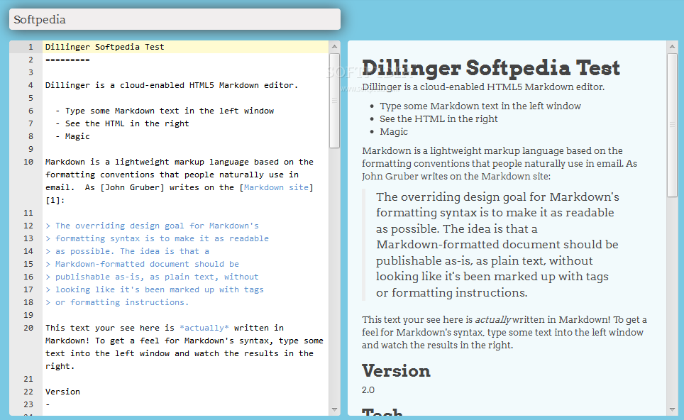Dillinger - Dillinger is an easy to use WYSIWYG editor for Markdown syntax