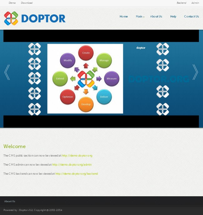 Doptor - Doptor comes with a backend for managing the site's frontend section