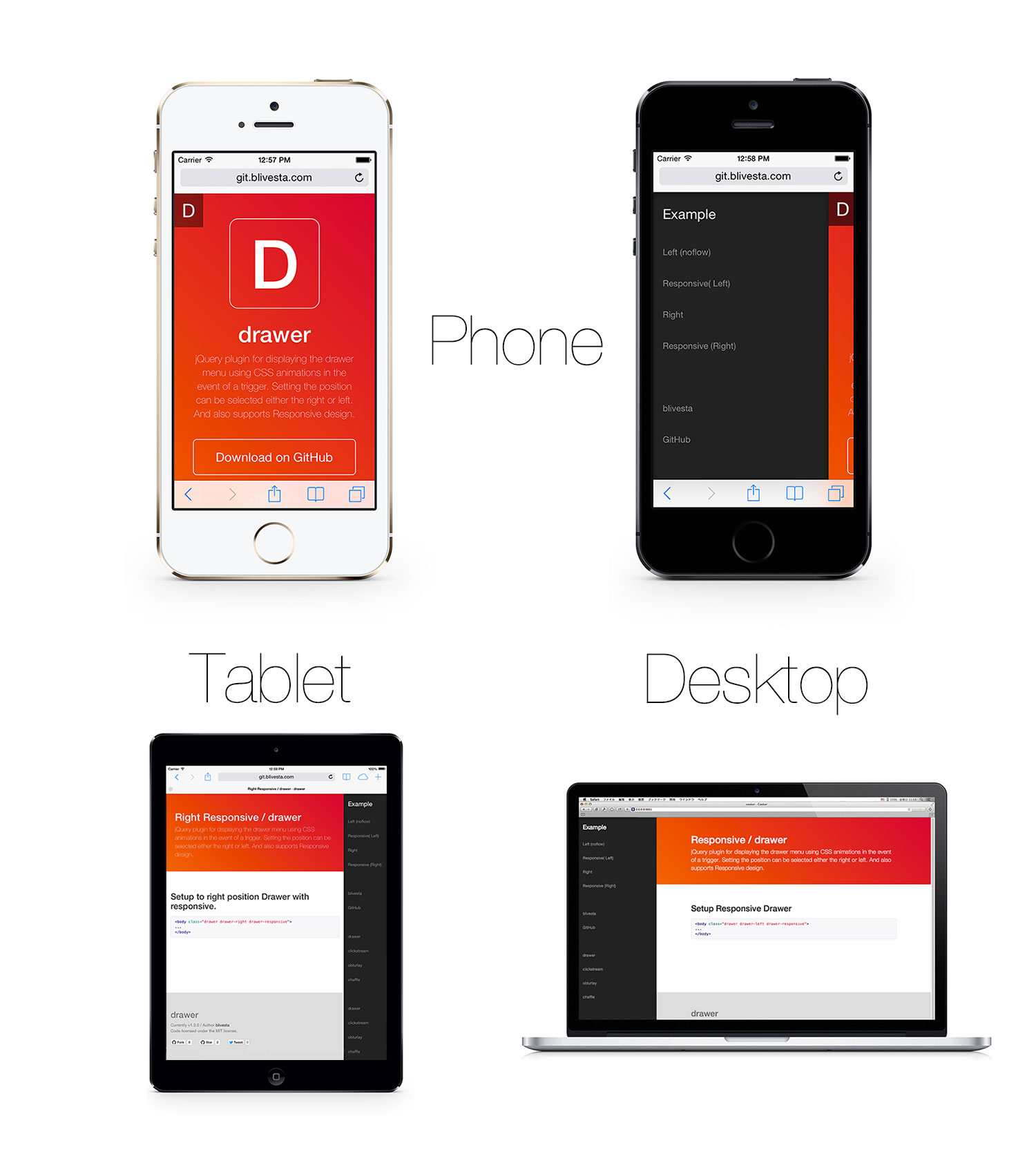 Drawer - Drawer is a responsive side-menu for your Web projects