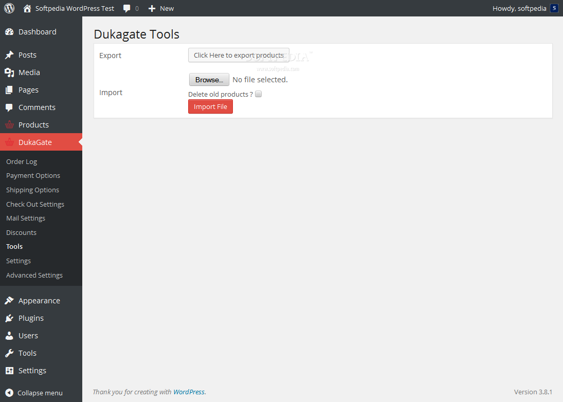Dukagate - Webmasters can easily import or export store products via the Dukagate backend