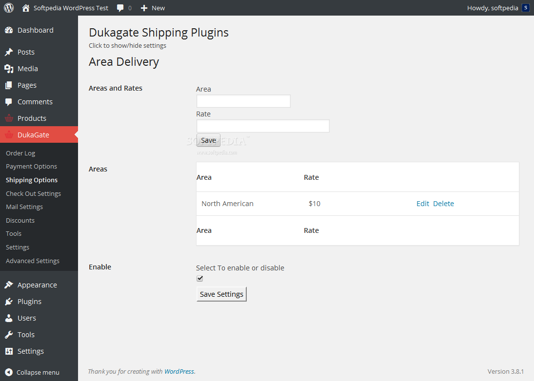 Dukagate - Shipping options can be tweaked via the WP backend