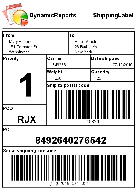 DynamicReports - Shipping label