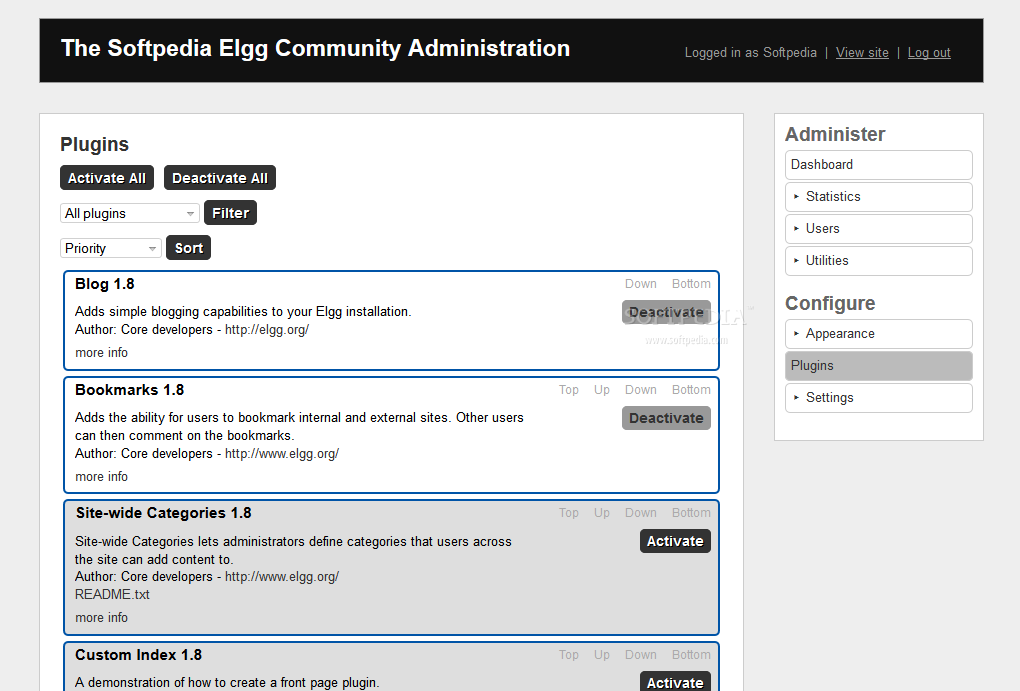 Elgg - The Elgg core can be extended via a plethora of plugins