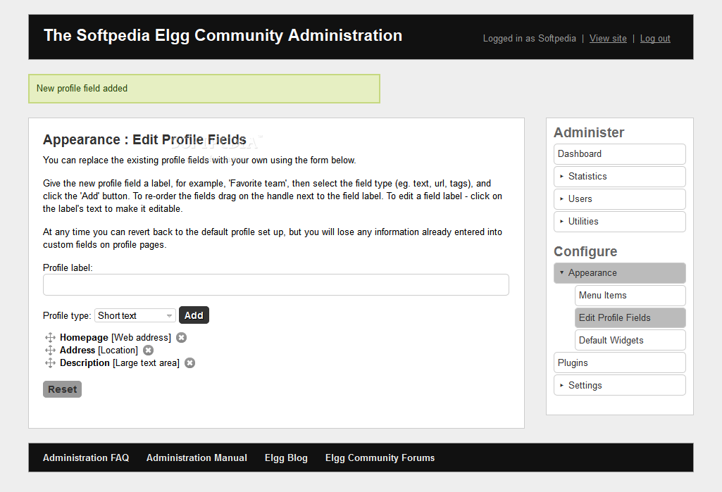 Elgg - User profile fields can be added or deleted at will