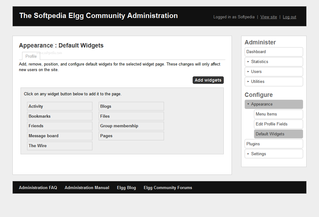 Elgg - Ell also supports widgets