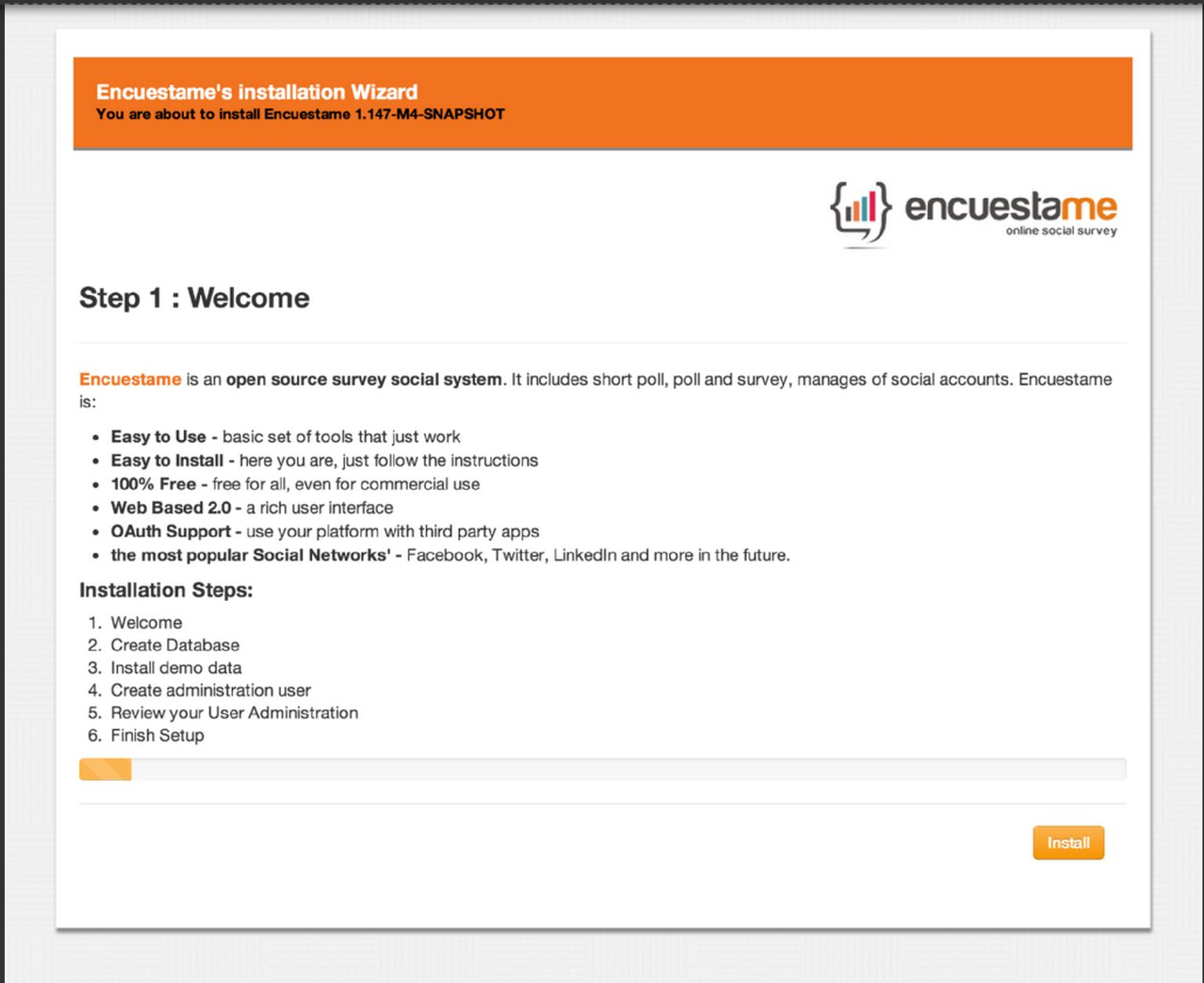 Encuestame - Encuestame comes with an easy to use installation wizard to get it up and running