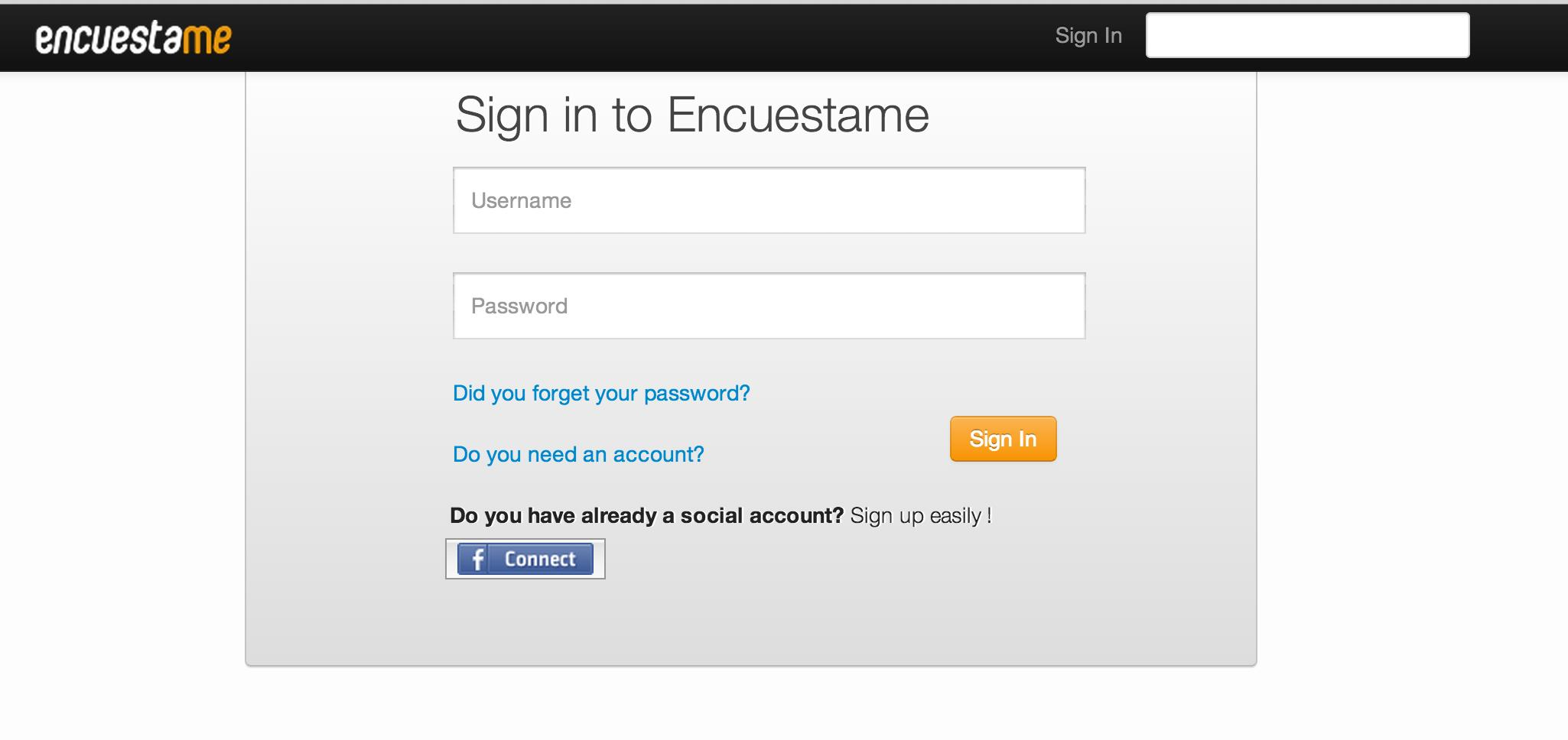 Encuestame - Users can register and admins can authenticate via Encuestame