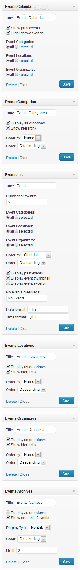 Events Maker - A plethora of sidebar widgets are available