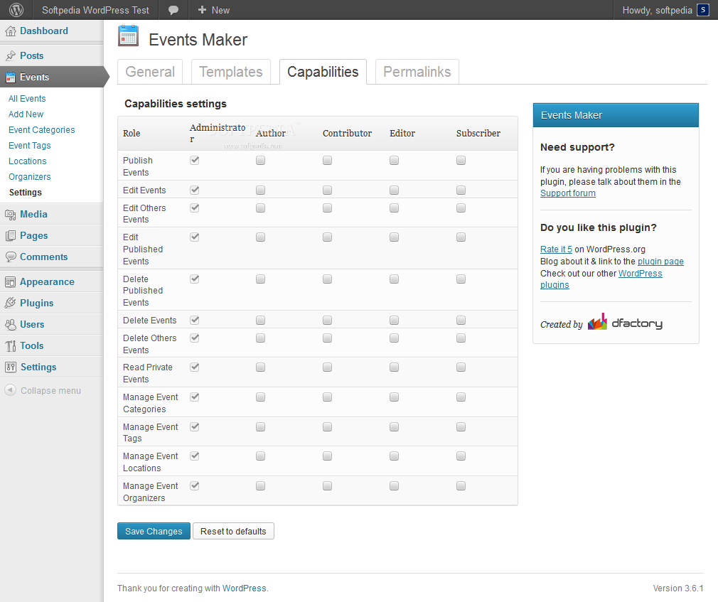 Events Maker - User permissions can be customized in the Events Maker backend