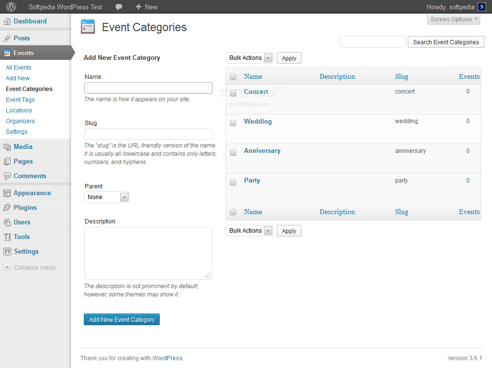 Events Maker - Event categories and tags can be added as well