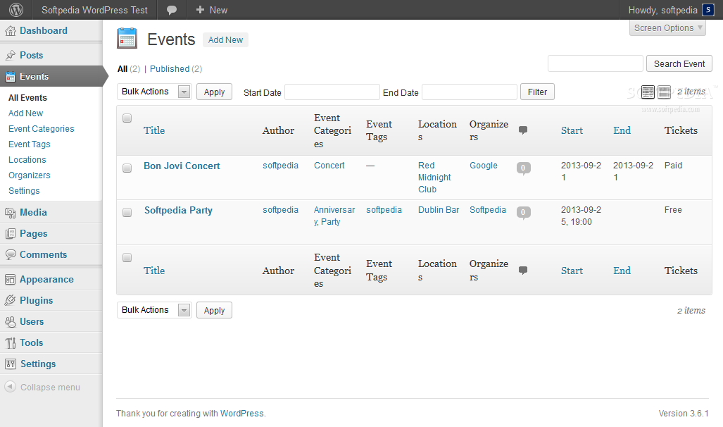 Events Maker - Multiple events can be managed from the WP backend