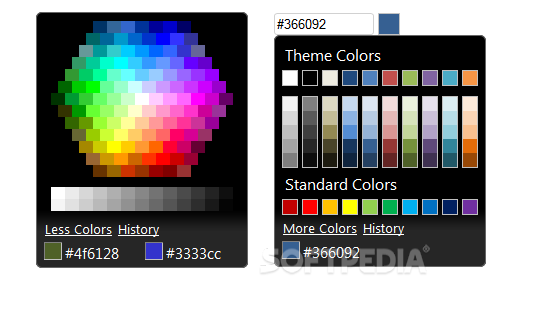 Evol ColorPicker - Evol ColorPicker comes with support for jQuery UI themes