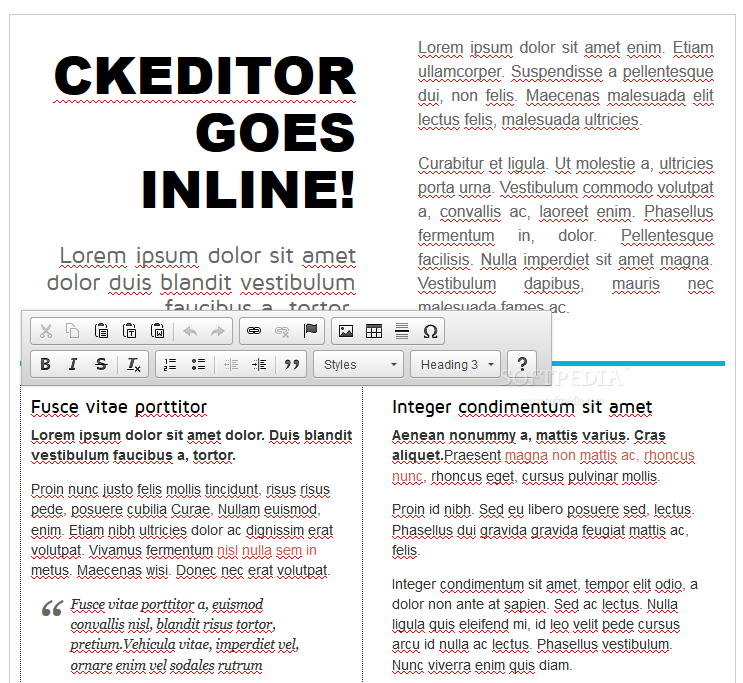 CKEditor - Support for inline text editing