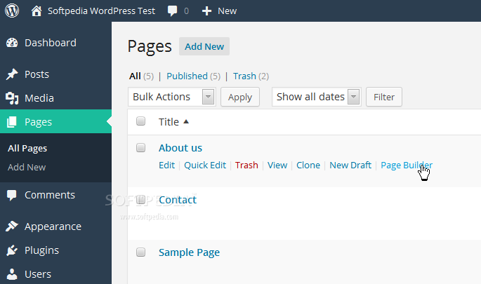 Beaver Builder - Special links are added to the post and page listing tables for quickly entering Page Builder mode