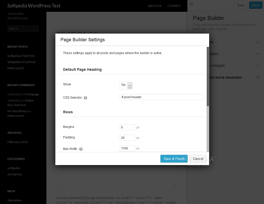 Beaver Builder - Overall FastLine Page Builder settings can also be modified if needed