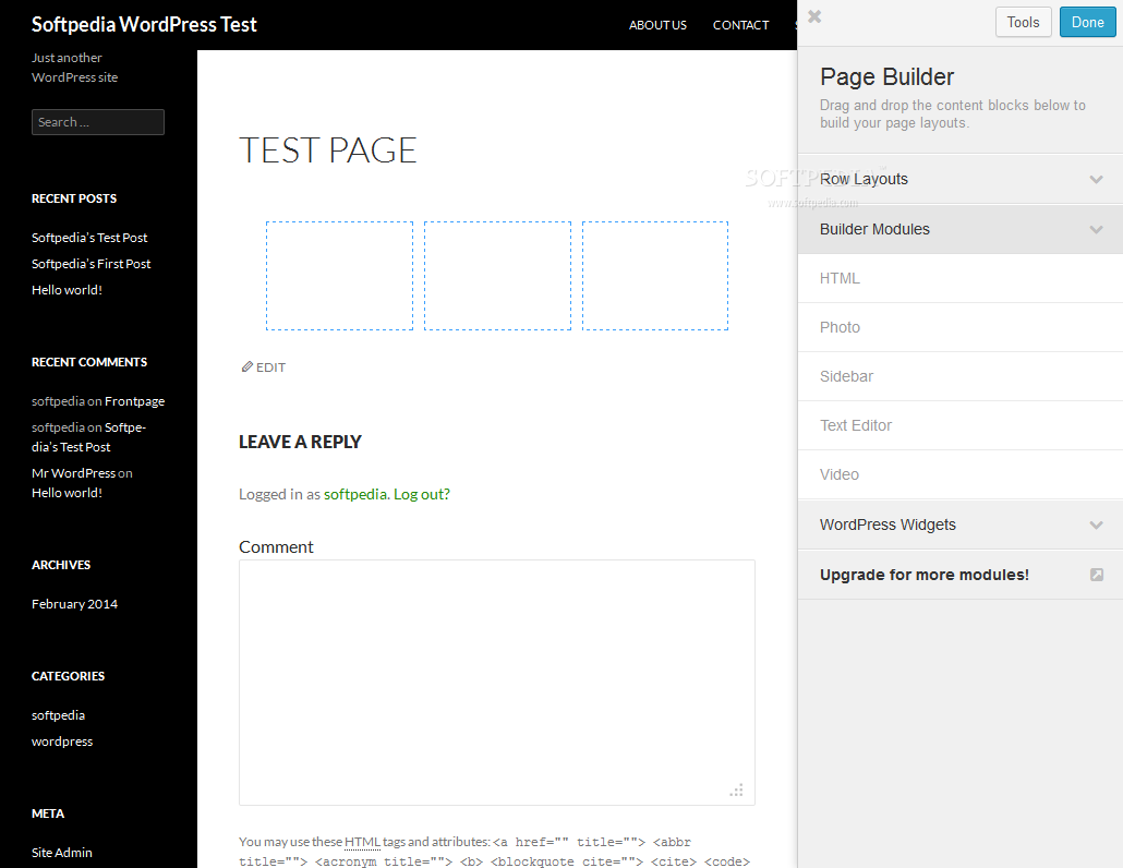 Beaver Builder - Layouts and various content types can be added to the page via drag and drop gestures