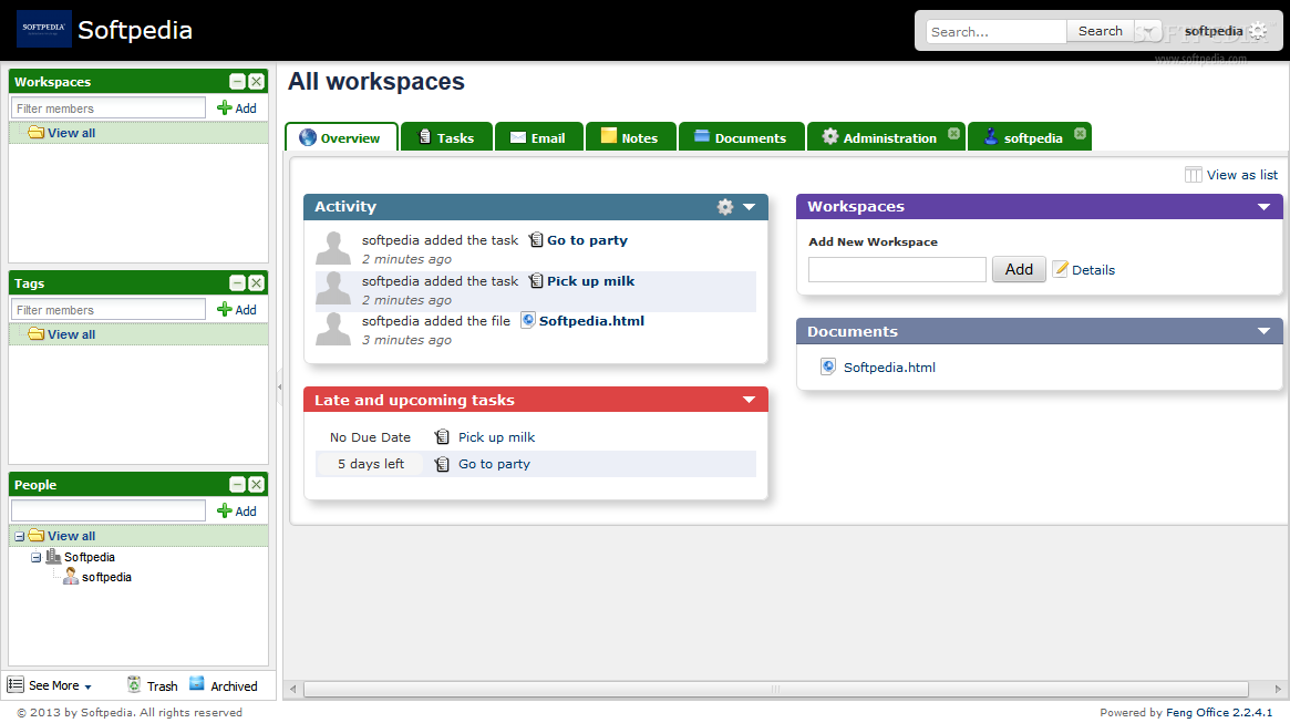 Feng Office - The Feng Office workspace, also known as the admin dashboard