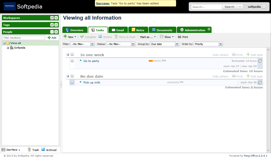 Feng Office - A task manager is included with Feng Office