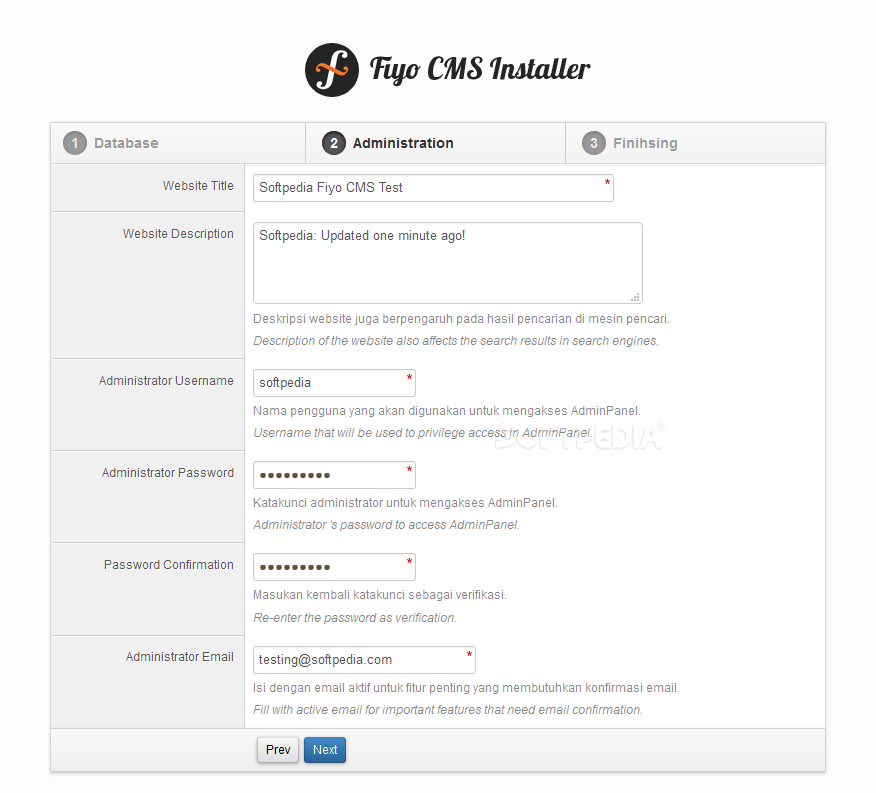 Fiyo CMS - Fiyo CMS includes a simple installation wizard to get things going