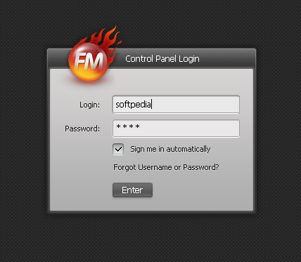 Moto CMS - FlashMoto CMS login screen