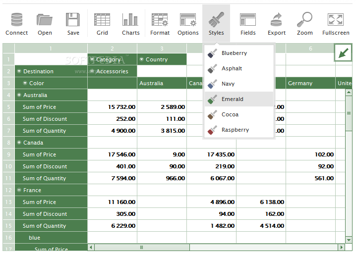 Flexmonster Pivot Table & Charts Component - The pivot tables can also be skinned with various ready-made styles