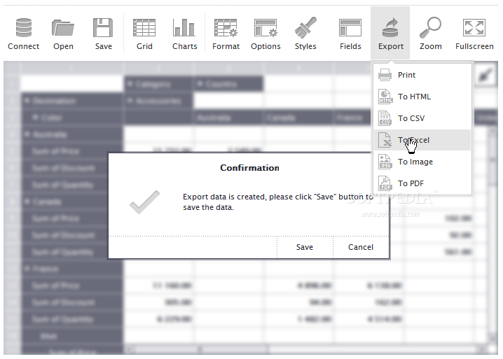 Flexmonster Pivot Table & Charts Component - Pivot table data can be exported to various formats