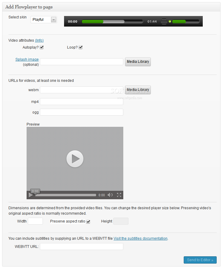 Flowplayer HTML5 for WordPress - Meta widget on the post/page editing screen where Flowplayer videos can be inserted in posts/pages