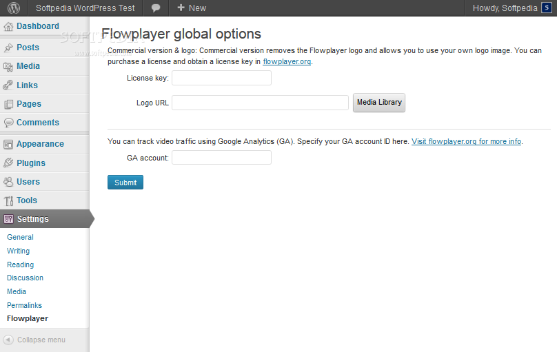 Flowplayer HTML5 for WordPress - The settings page in case the user holds a copy of a commercial Flowplayer license