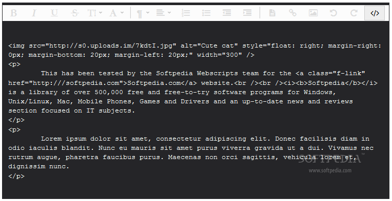 Froala Editor - Froala Editor includes the classic source code view, for editing the text's HTML source if ever needed