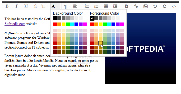 Froala Editor - Text colors and other formatting options are also available