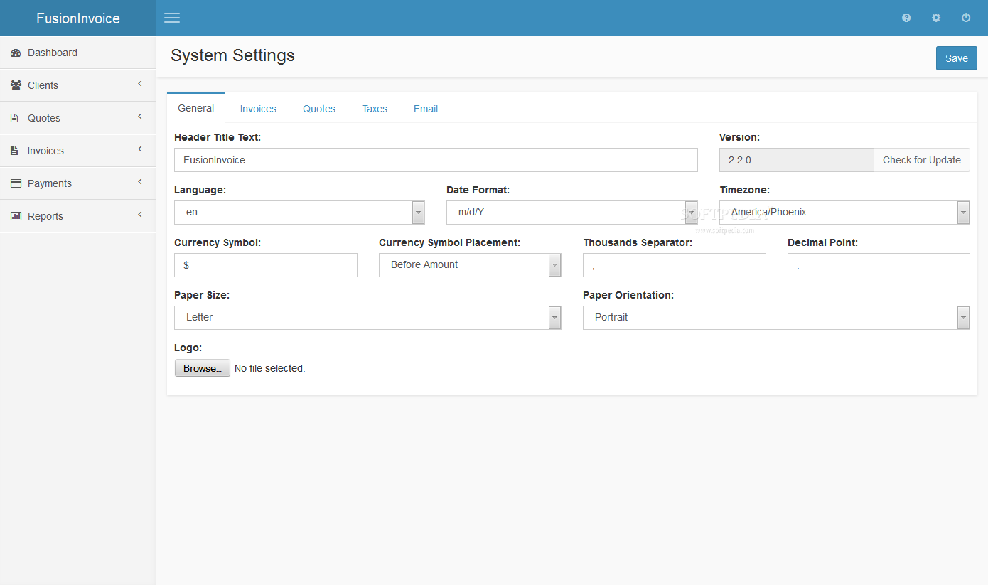 FusionInvoice - Various system settings can be tweaked in the FusionInvoice backend