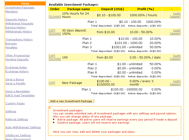 GC HYIP Manager Pro Download - Investor package template