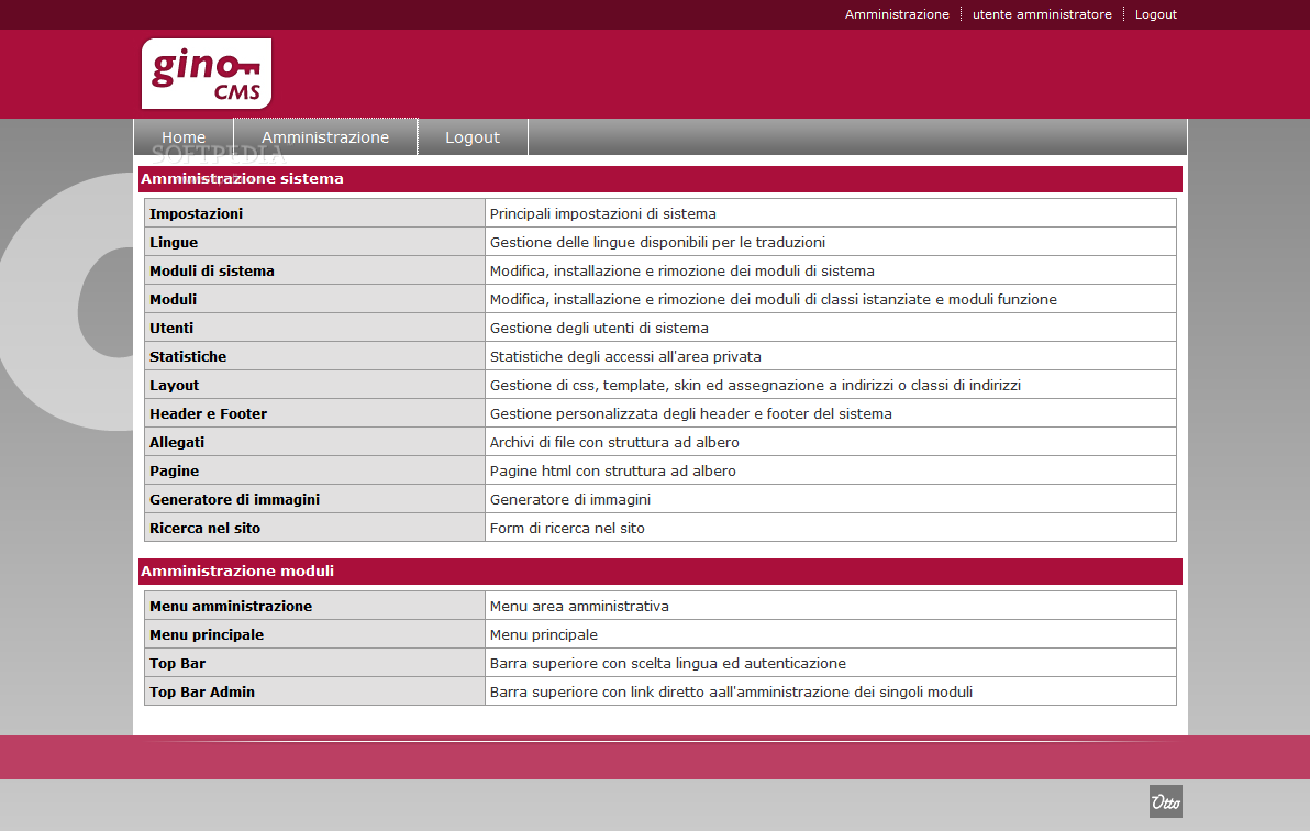 GINO CMS - The admin dashboard will help webmasters manage their site