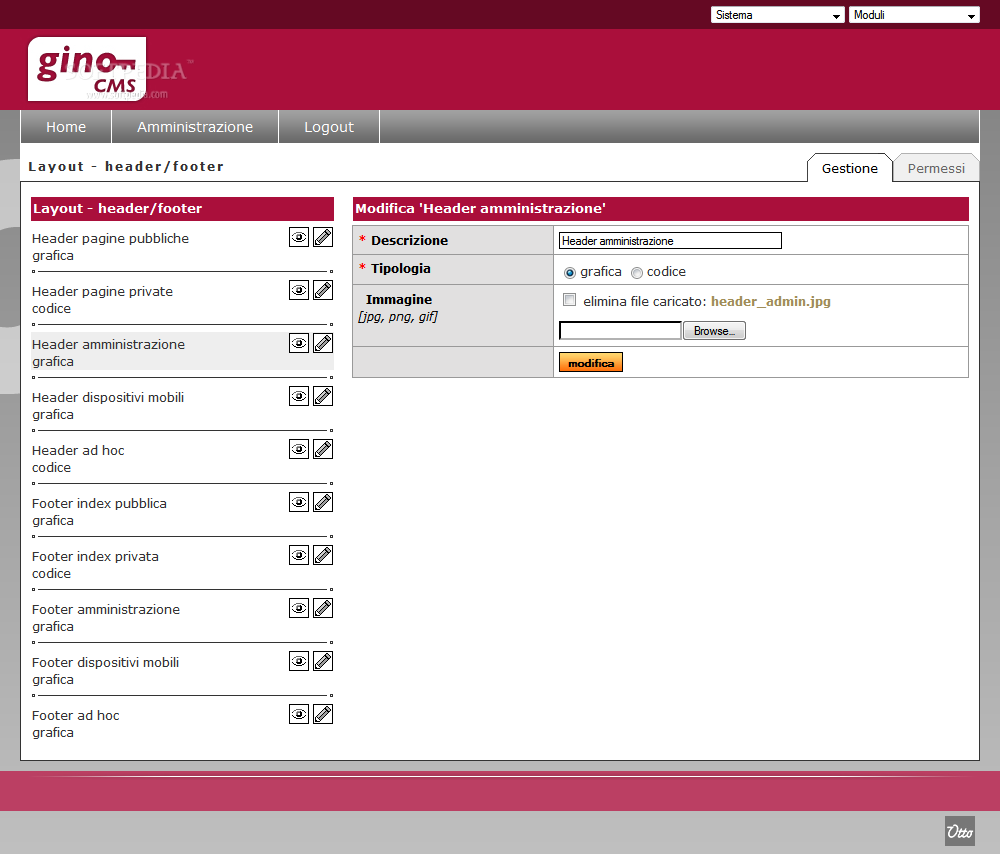 GINO CMS - The website's layout can also be managed from the backend