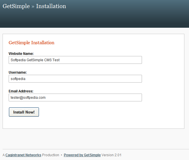 GetSimple CMS - CMS graphic installer
