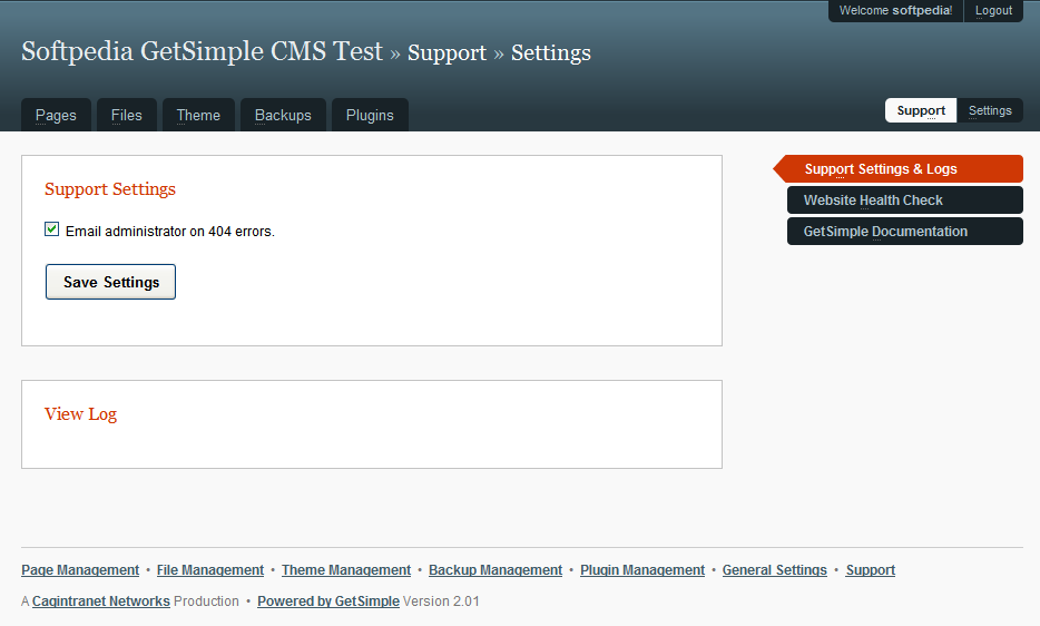 GetSimple CMS - Support settings