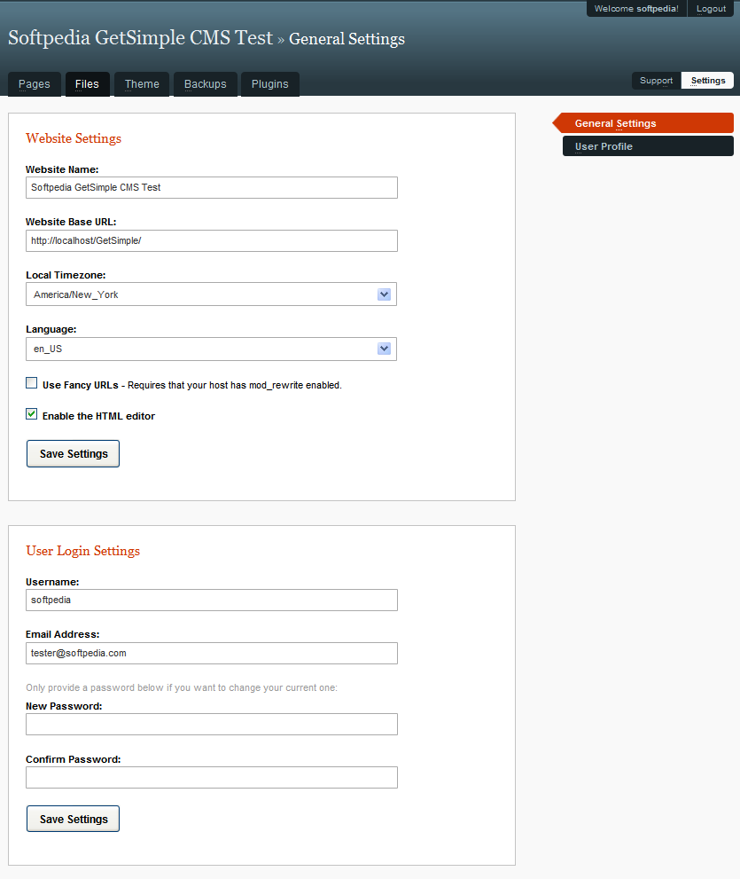GetSimple CMS - Site and user settings