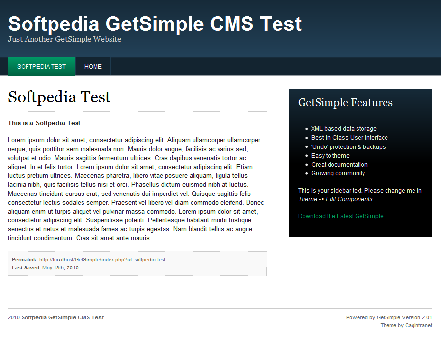 GetSimple CMS - Viewing the GetSimple CMS-powered site
