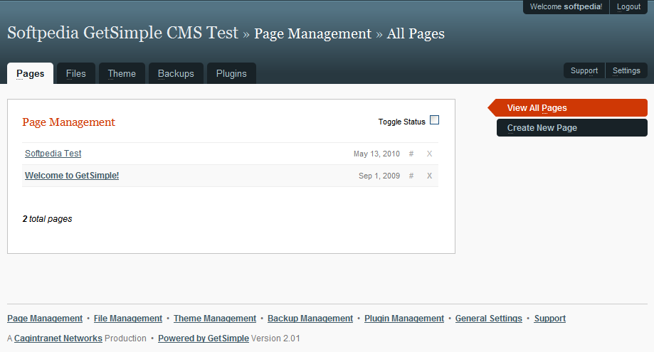 GetSimple CMS - Listing all pages on the site