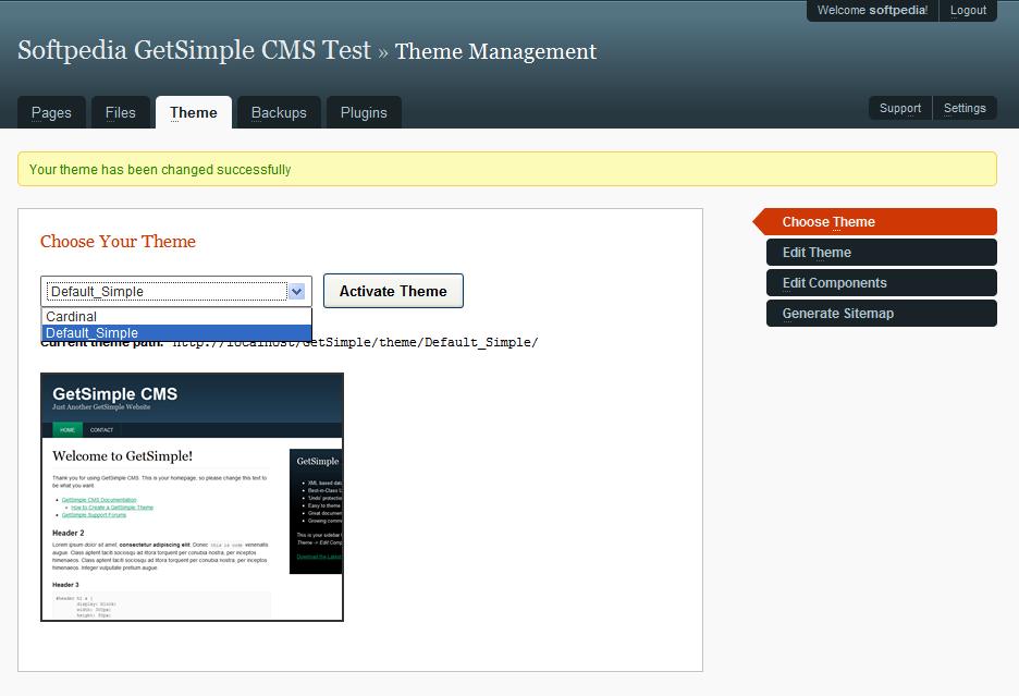 GetSimple CMS - Choosing a theme for the site