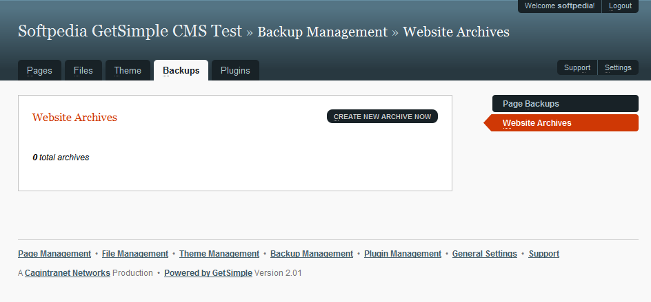 GetSimple CMS - Backup section