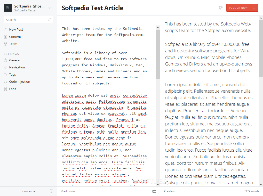 Ghost - An admin panel allows editors to add and manage content