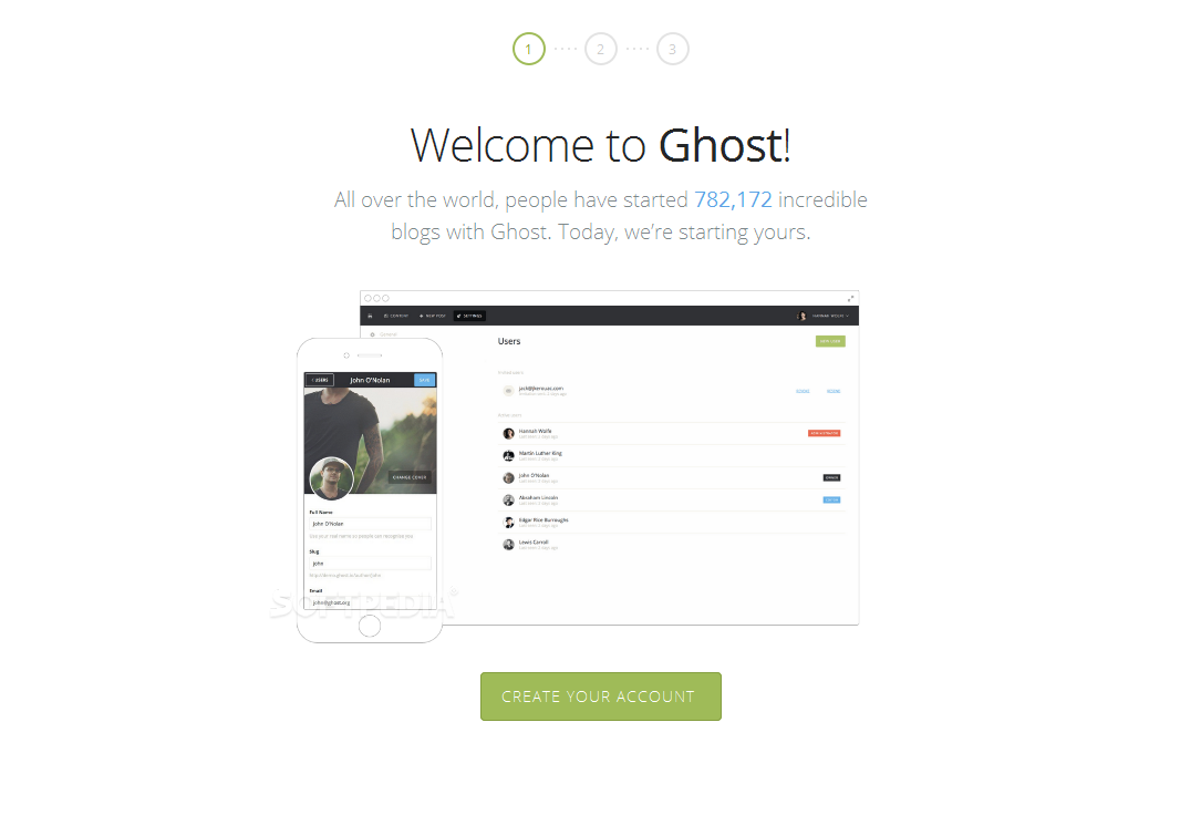 Ghost - Blog comes with an easy to follow installation wizard