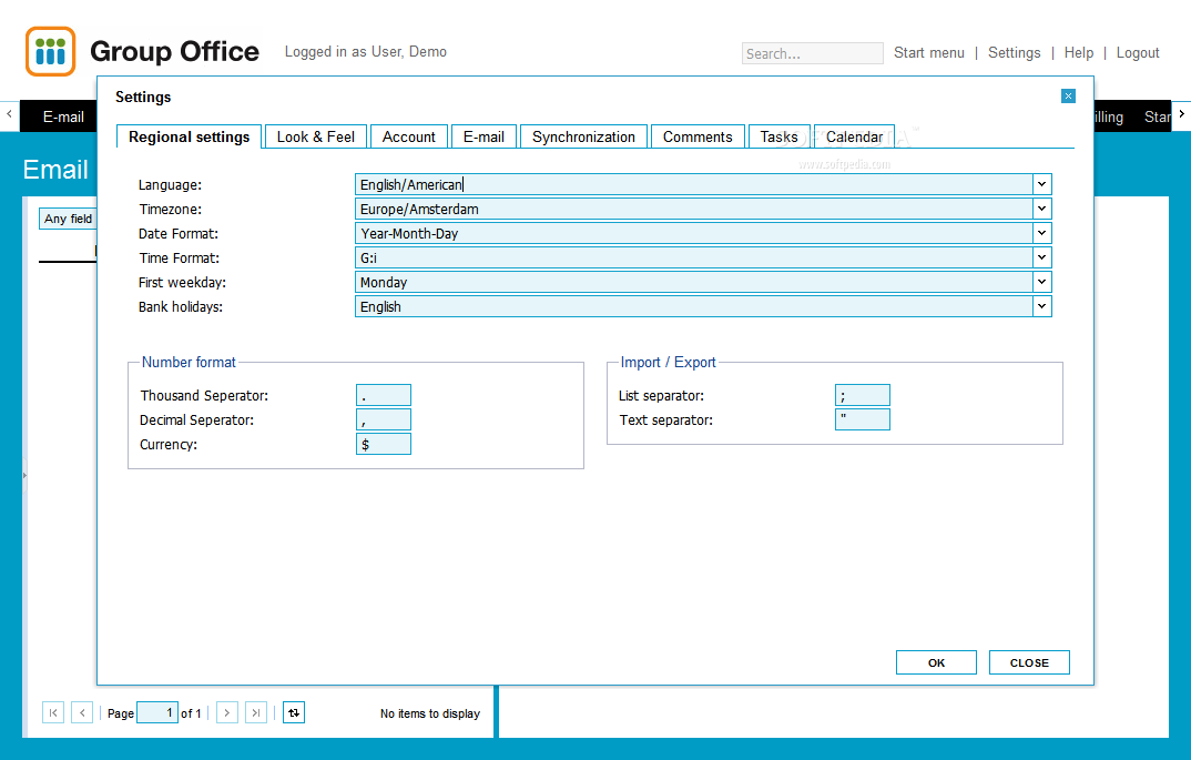 Group-Office - Group-Office comes with a comprehensive settings page