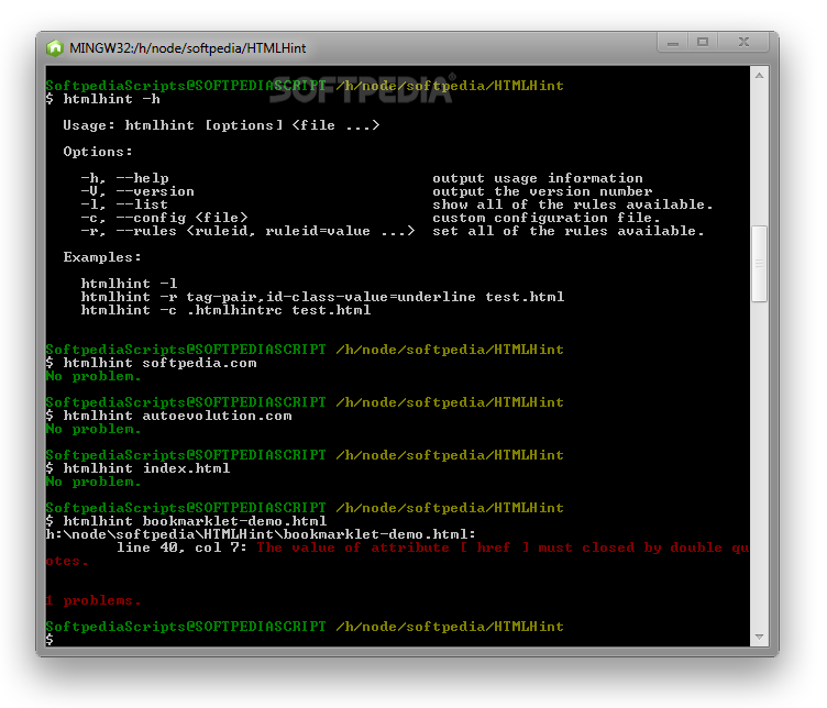 HTMLHint - HTMLHint can also be used via the Node.js command-line interface