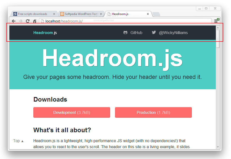 Headroom js Download