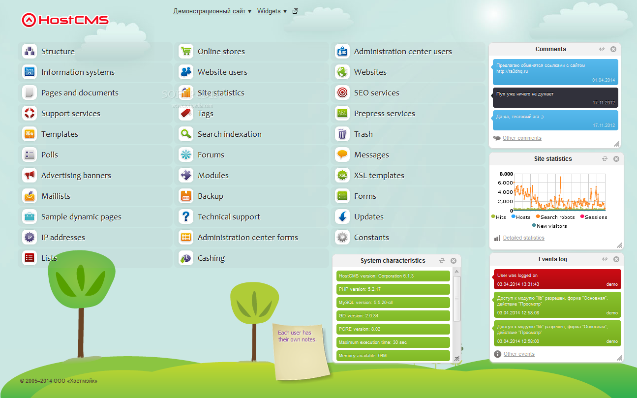 HostCMS - Once installed, the CMS dashboard provides lots of content management possibilities