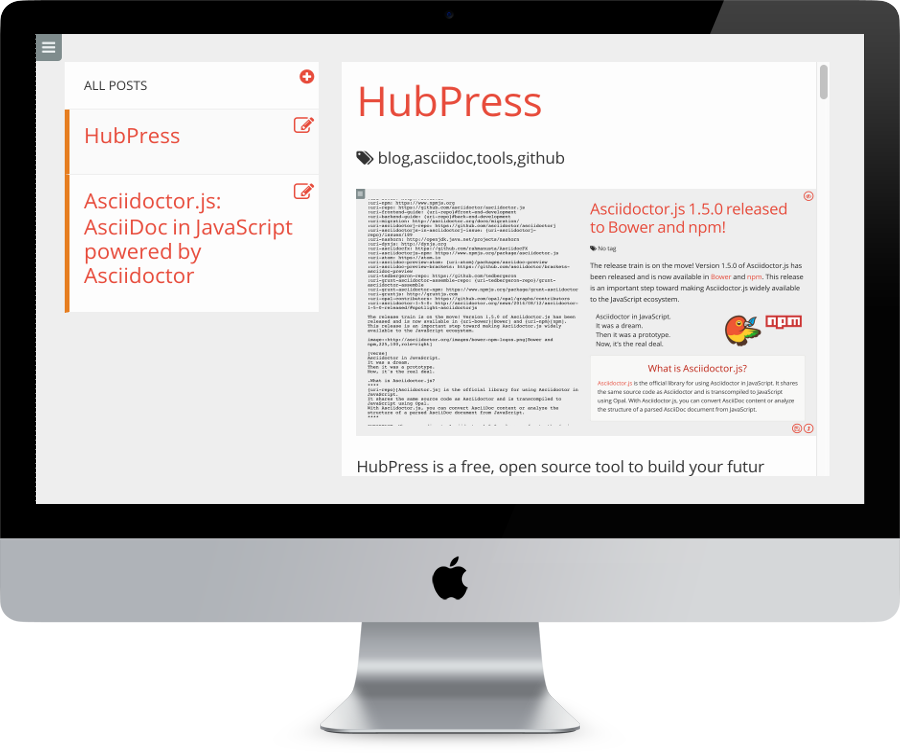 HubPress - HubPress is a JavaScript-based static site generator that works on top of GitHub's infrastructure